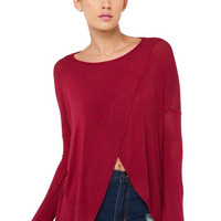 Red Cross Off Shoulder Long Sleeve Loose Shirt with Belly Folds Front