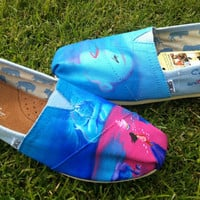 """Pocahontas """"Colors of the Wind"""" Original Custom Acrylic Painting for Toms Shoes"""