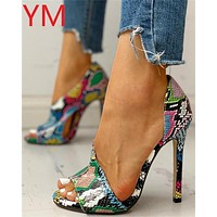 HOT Women Pumps New Shoes Peep toe Sexy High Heels Ladies Party Stiletto & Enlargers Female Wedding Snake Print Heels Zapatos