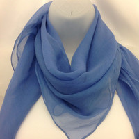 Denim Blue Silk scarf Coworker Gifts, Summer Silk scarf, Chemo headscarf, Office Admin Gift, Mother in law Birthday Gift, Something blue