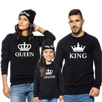 family matching outfits king queen prince princess t shirt for father mother son daughter sweatshirt mommy and me clothes sister
