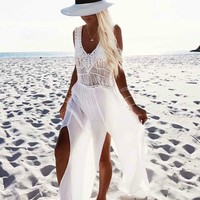 Casual White Plunge Lace Detail Ruffle Hem Cami Maxi Dress