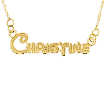 NAME NECKLACE TEENAGE FONT ENGRAVED FOR 3D LOOK - GOLD