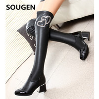 Sougen Shoes Women Boots Over The Knee High Brand 2016 Woman Winter Black Leather Heel New Fashion Autumn 2017 Genuine With Fur