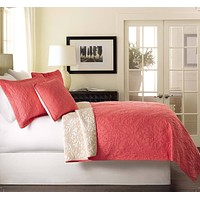 Tache Pink Coral Ivory White Paisley Damask Luxembourg Bedspread Set