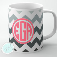 Custom Coffee cup - Coral monogram name or initials on Gray chevron personalized coffee mug, monogrammed gift, FREE COASTER