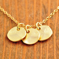 Textured Disk Necklace - gold disk pendant, gold disk necklace, triple disk necklace, bridesmaid necklace, gold coin necklace