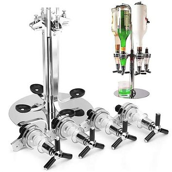 4 Heads Stainless Steel Wine Juice Cocktail Stand Drinks Dispenser Holder