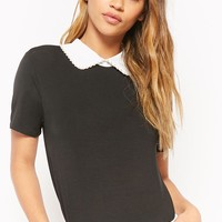 Faux Pearl Contrast Top