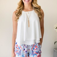 White On White Double Layered Tank