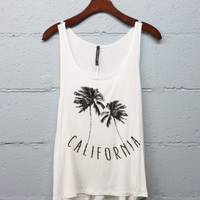 California Palm Tree Tank Top White