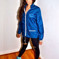Make an Offer BERMUDA Souvenir 1970s Vintage Blue Nylon Hooded Windbreaker Track Jacket By Capitol mens Small S Boyfriend Fit for Ladies