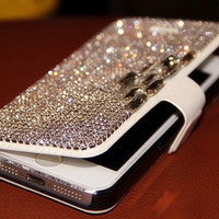 Bling Diamond Crystal Rhinestone Leather Flip Case for iPhone and Galaxy