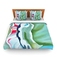 """Cathy Rodgers """"Peony Shadows"""" Green Flower Lightweight Duvet Cover"""