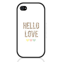 Gold Glitter Phone Case - Hello Love Quote iPhone 4 or 4s Case, iPhone 5 or 5s Case, Cases for Samsung Galaxy (0503)