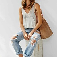 BDG Solid Hooded Tank- Ivory