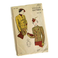 Vintage Vogue, Sewing Pattern, 1930's 1940's, Ladies Fitted Jacket, With or Without Lapels, Size 16. No. 7578, Retro Fashion, Hollywood
