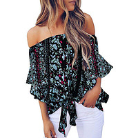 Black Off Shoulder Floral Tie Front Chiffon Blouse