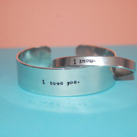Custom His and Her Aluminum Cuff Bracelet (1/4 inch and 3/4 inch wide)