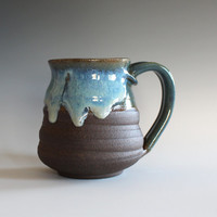 Pottery Coffee Mug, 16 oz, handthrown ceramic mug, stoneware pottery mug, unique coffee mug