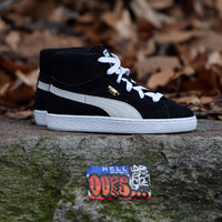 Puma - Suede Classic Mid Jr - Kids - Black/White/Team Gold