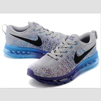 NIKE air cushion flying line woven rainbow casual shoes sports shoes Gray and blue purple