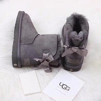 Ugg 1016501 Gray Classic Mini Bailey Bow II Boot Snow Boots