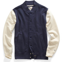 Fleece Baseball Jacket in Mast Blue