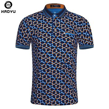 2018 Summer Fashion Mens Polo Shirt Short Sleeve Geometric Pattern Slim Shirt For Men Polo Shirts Camisa Polo Masculina Big Size