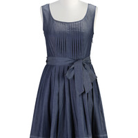 Tux front chambray A-line dress