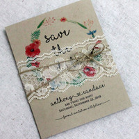 Boho Save the Date Card set of 25 • Lace Wedding Save the Dates • Rustic Save the Date • Save the Date Cards • Tying the Knote Save the Date