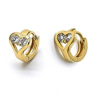 Gold Layered 5.131.027 Huggie Hoop, Heart Design, with White Cubic Zirconia, Polished Finish, Golden Tone