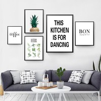 This Kitchen Is For Dancing Wall Decor Canvas Prints Painting But First Coffee Wall Art Pictures On The Wall Posters FG0096