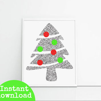 Christmas printable silver glitter Christmas tree, red and green baubles Christmas prints, holiday wall decor, last minute gift
