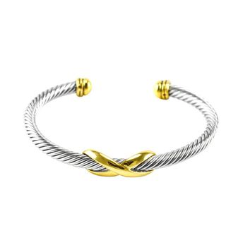 Tabianette Infinity Gold Charm Textured  Cable Bracelet