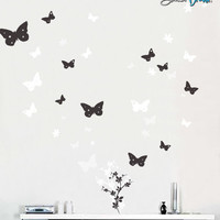Vinyl Wall Art Decal Sticker Butterfly Flower Floral #128