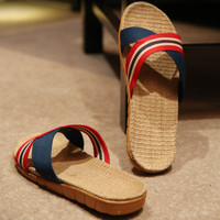 Mens Beach Shoes Holiday Linen Slipper Sandals