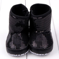 Sequin Baby Girl High Boots Soft Sole Anti Slip Warm Toddler Girls Shoes First Walkers