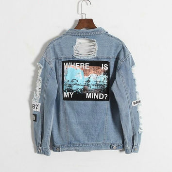 Where is my mind? Korea retro washing frayed embroidery letter patch bomber jacket Light Blue Ripped Denim Coat