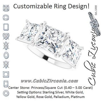 Cubic Zirconia Engagement Ring- The Skylah (Customizable Triple Princess/Square Cut Design with Quad Vertical-Oriented Round Accents)