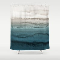 WITHIN THE TIDES - CRASHING WAVES TEAL Shower Curtain by monikastrigel