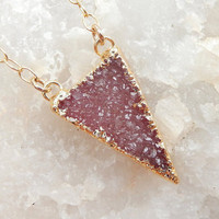Triangle Druzy Necklace 24K Gold Pink Purple Dainty Small Quartz Natural Rock Crystal Pendant- Free Shipping OOAK Jewelry