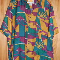 Vintage 80s 90s Abstract Tribal Graphic Protest Mens Oversize Baggy Silk Shirt Size Large