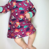 Organic cotton baby dress, baby dress, organic baby clothes, girls dress, Ready to ship, 0 - 3 months