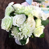 11pcs/set Roses Dahlias Artificial Flowers Fall Vivid Fake Leaf Bouquet Latex Real Touch Flowers Floral Wedding Party HomeDecor