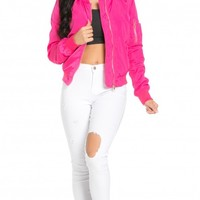 Ruched Detail Lightweight Bomber Jacket in Hot Pink