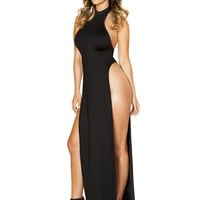 Maxi Length Halter Neck Dress with High Slits