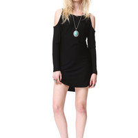 Black Off The Shoulder Shirt Dress // Easy Fit Long Sleeve Wide Neckline Tunic // Cut-Out Cold Shoulder // Supper Chic Top // SALE