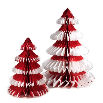 Christmas Red Honeycomb Trees Tissue Paper Vintage-Style - MS5024R