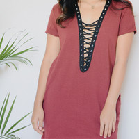 Paulina Lace Up Tunic (Burgundy)